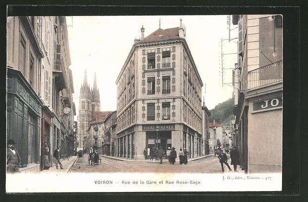 AK Voiron, Rue de la Gare et Rue Rose-Sage
