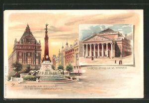 Lithographie Brüssel / Bruxelles, La Place de Broukére et Monument Anspach, Theatre Royal de la Monnie