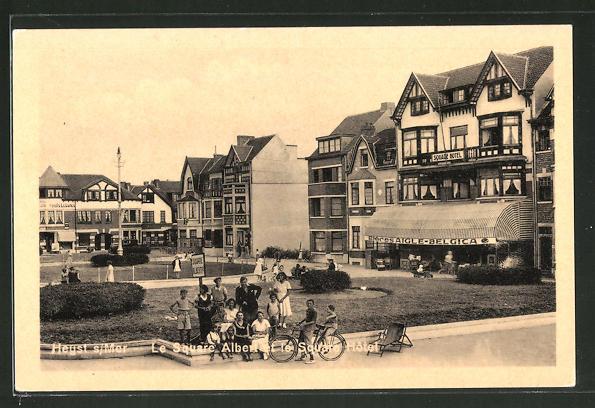 AK Heyst-s-Mer, Le Square Albert et le Square Hotel