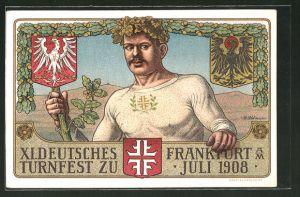 AK Frankfurt am Main, XI. Deutsches Turnfest Juli 1908, Turner mit Eichenkranz