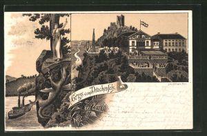 Lithographie Königswinter, Blick auf das Gasthaus