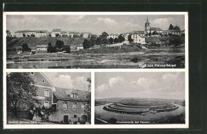 AK Palzem, Gasthof Schuler-Zenz, Moselschleife bei Palzem, Totalansicht