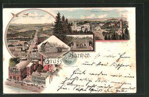 Lithographie Barmen, Barmer Anlagen und Bergbahn aus der Vogelschau, Teilansicht aus der Vogelschau