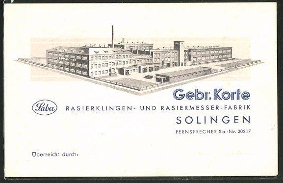 AK Solingen, Rasierklingen- und Rasiermesser-Fabrik, Gebr. Korte