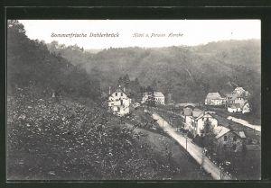 AK Dahlerbrück, Teilansicht mit Hotel und Pension Hencke