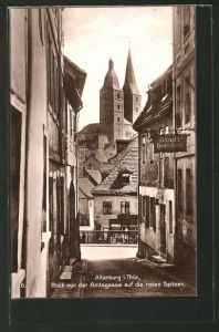 AK Altenburg, Blick von der Amtsgasse auf die roten Spitzen