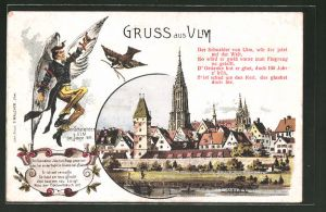 Lithographie Ulm, Teilansicht vom Fluss aus, Sage des Schneiders von Ulm