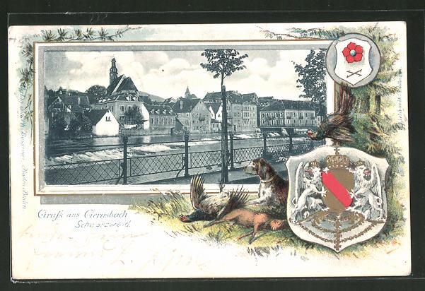 Passepartout-Lithographie Gernsbach, Ortspartie am Wehr, Wappen, Jagdhund mit erlegtem Wild
