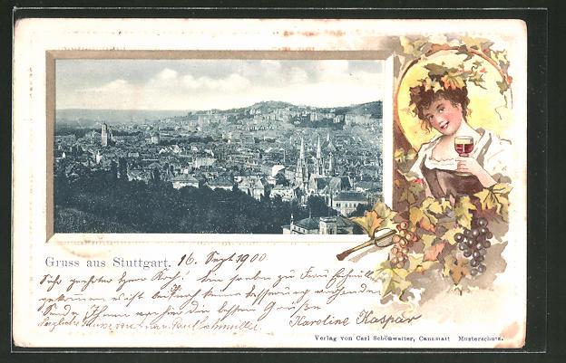 Passepartout-Lithographie Stuttgart, Stadt-Panorama, Passepartout mit Weinkönigin