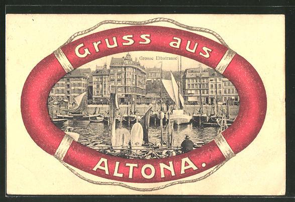 Grusskarten Ak Hamburg Altona Blick In Die Grosse Elbstrasse Nr
