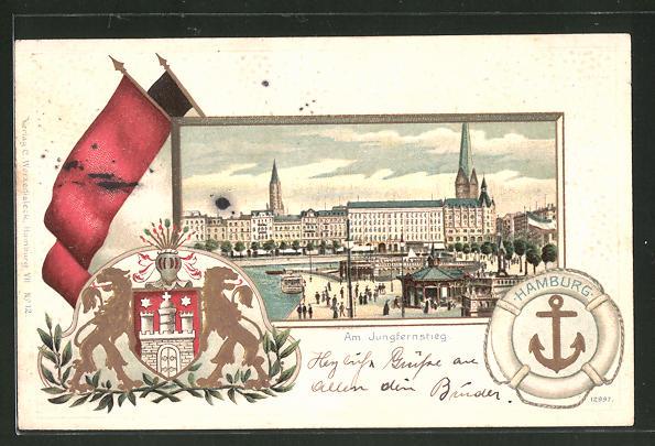 Passepartout-Lithographie Hamburg-Neustadt, Partie am Jungfernstieg, Wappen