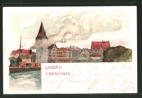 Künstler-AK Fritz Voellmy: Lindau, Teilansicht der Ortschaft, Dampfer verlässt den Hafen