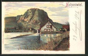 Lithographie Hohentwiel, Panoramablick auf den Ort, Halt gegen das Licht: Ansicht bei Vollmond