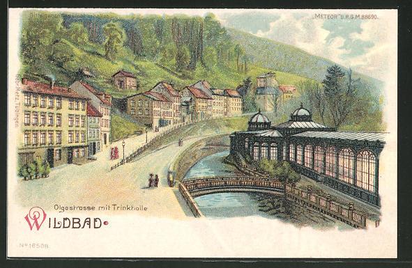 Lithographie Bad Wildbad, Olgastrasse mit Trinkhalle, Halt gegen das Licht: Ansicht bei Vollmond