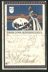 Künstler-AK Bernburg, Absolvia Prima Gymn. Bernburgiensis, Ritter auf seinem Ross