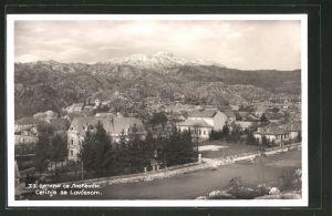 AK Cetinje / Cettigne, Gesamtansicht mit Gebirge