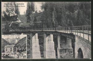 AK Raitis, Fahrt ins Stubaital Serie, Brücke vor der Station, Hotel Serles in Telfes