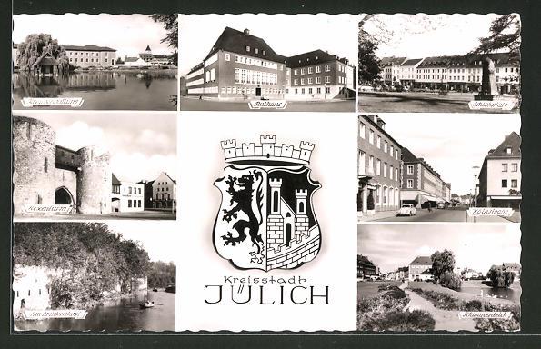 AK Jülich, Rathaus, Schlossplatz, Kölnstrasse, Hexenium