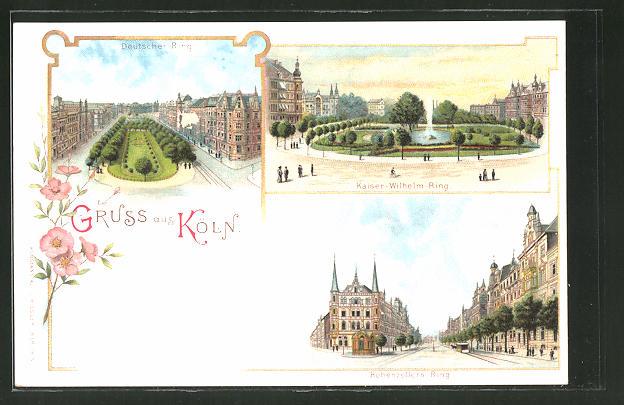Lithographie Köln, Deutscher Ring, Kaiser Wilhelm-RIng, Hohenzollern-Ring