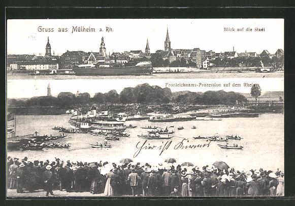 Ak Koln Mulheim Blick Auf Die Stadt Frohleichnams Prozession Auf