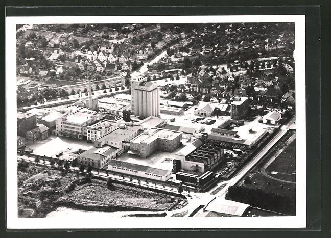 AK Heilbronn, Blick auf die Werksanlagen C.H. Knorr AG Nahrungsmittelfabriken vom Flugzeug aus