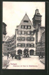 AK Stuttgart, Geissstrasse mit Hans im Glück Brunnen