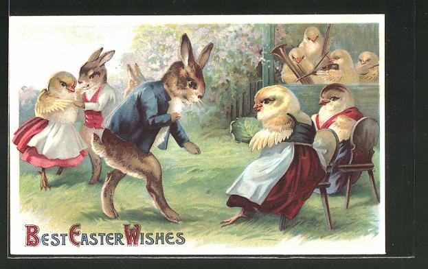 Präge-AK Best Easter Wishes, Osterhasen beim Tanz mit Osterküken