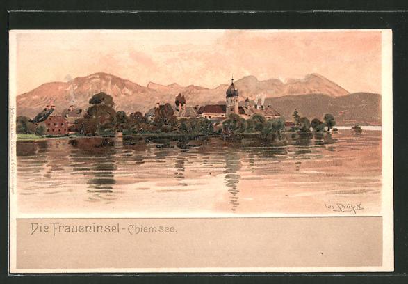 Künstler-Lithographie Otto Strützel: Die Fraueninsel, Chiemsee