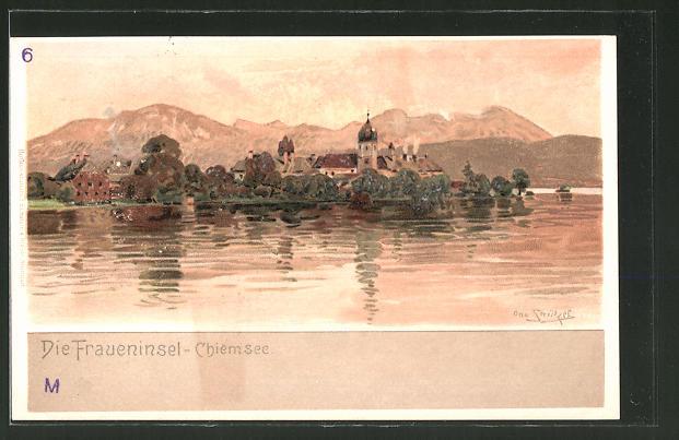 Künstler-Lithographie Otto Strützel: Chiemsee, Die Fraueninsel