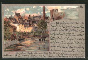 Künstler-Lithographie Raffaele Carloforti: Leipzig, Ortspartie mit Brücke