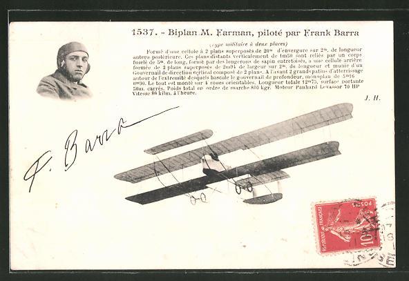 AK Biplan M. Farman, piloté par Frank Barra, Doppeldecker-Flugzeug