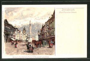 Künstler-Lithographie Otto Strützel: Innsbruck, Blick in die Maria Theresien-Strasse