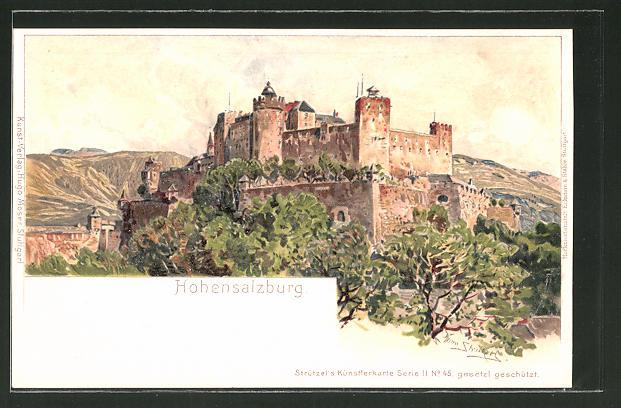 Künstler-Lithographie Otto Strützel: Hohensalzburg, Panorama