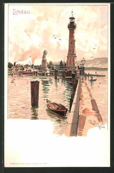 Künstler-Lithographie Otto Strützel: Lindau, Motiv vom Leuchtturm