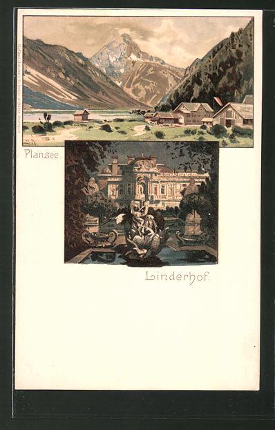 Künstler-Lithographie Otto Strützel: Linderhof, Plansee