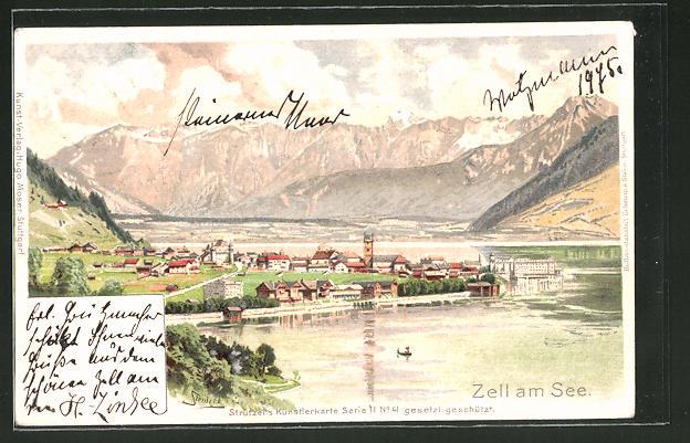 Künstler-Lithographie Otto Strützel: Zell am See, Panorama