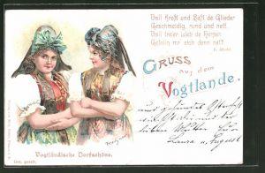 Lithographie Zwei Frauen in vogtländischer Tracht, Gedicht von L. Riedel