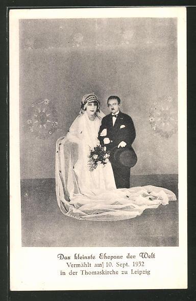 Ak Leipzig Kleinstes Ehepaar Der Welt Hochzeit 1932 In Der