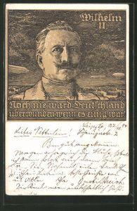 Künstler-AK Bruno Heroux: Porträt von Wilhelm II., Spruch