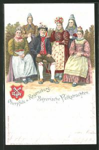 Lithographie Bayerische Volkstrachten, Oberpfalz und Regensburg