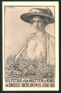 Künstler-AK Hilfstag für Mutter u. Kind in Gross-Berlin, 1911, Blumenmädchen