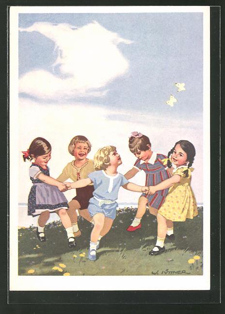 Künstler-AK W.I.: Kleine Kinder tanzen vergnügt auf der Wiese, Reklame für