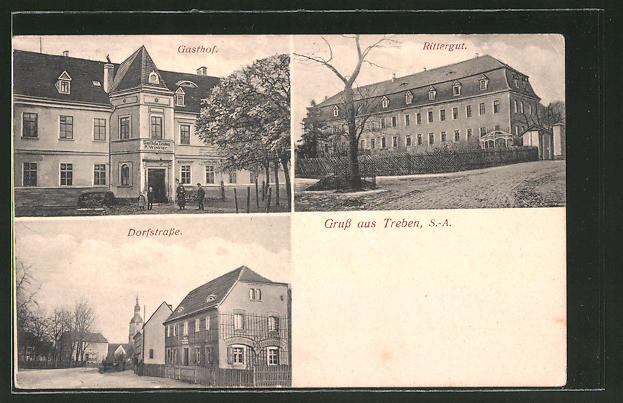 AK Treben, Gasthof, Rittergut, Dorfstrasse