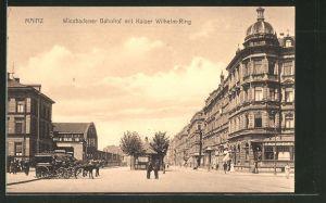 AK Mainz, Wiesbadener Bahnhof mit Kaiser-Wilhelm-Ring