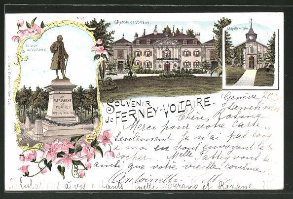 Lithographie Ferney-Voltaire, Chapelle Voltaire, Chateau de Voltaire, Statue de Voltaire