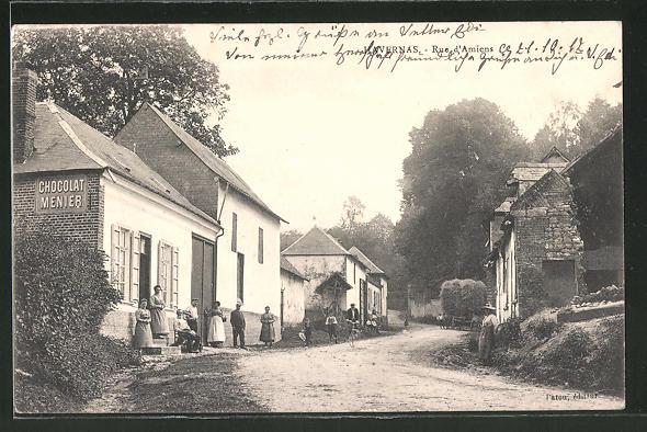 AK Havernas, Rue d'Amiens, Strassenpartie im Ort