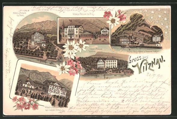 Lithographie Vitznau, Hotel-Pension zum weissen Kreuz, Hotel-Pension Lüzelau, Hotel Rigi-Bahn