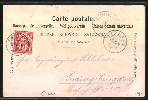 Lithographie Vitznau, Hotel-Pension zum weissen Kreuz, Hotel-Pension Lüzelau, Hotel Rigi-Bahn 1