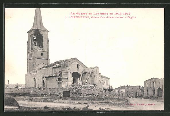 AK Clézentaine, Totalansicht einer vom Krieg zerstörten Kirche