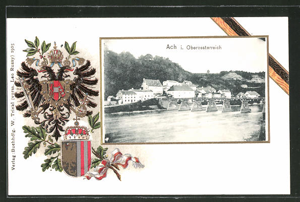 Passepartout-Lithographie Ach, Totalansicht vom Fluss aus